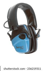 Hayward, CA - November 27, 2014: Howard Leight Impact Sport amplified hearing protection by Honeywell isolated on white