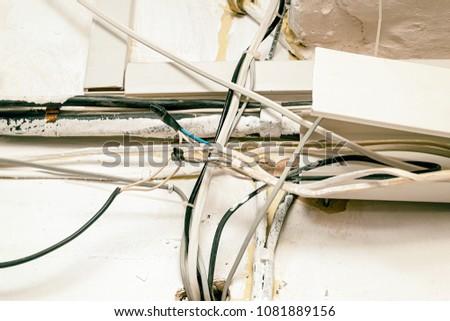 Peachy Hazard Electrical Wiring Exposed Wire Electrical Stock Photo Edit Wiring Digital Resources Bemuashebarightsorg