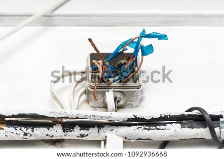Surprising Hazard Electrical Wiring Exposed Wire Electrical Stock Photo Edit Wiring Digital Resources Bemuashebarightsorg