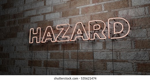 HAZARD - Glowing Neon Sign on stonework wall - 3D rendered royalty free stock illustration.  Can be used for online banner ads and direct mailers.