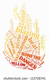 Hazard info-text graphics arrangement concept composed in fire shape on white background