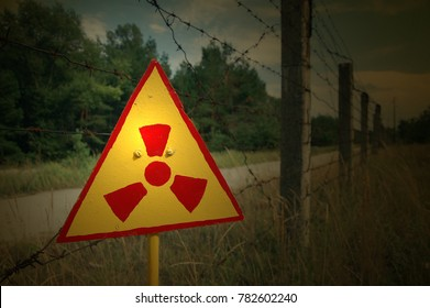 Hazard. Radioactive sign in the ruins