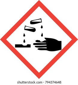 Hazard sign with corrosive substances symbol