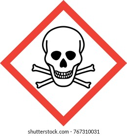 Hazard sign with deadly danger symbol
