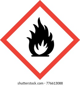 Hazard sign with fire symbol symbol