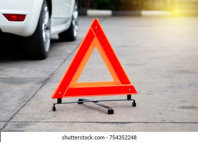 Hazard warning safety triangle sign for car.