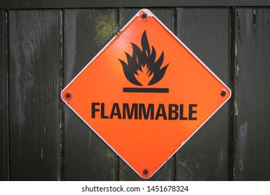 Hazard warning sign on a storage building.