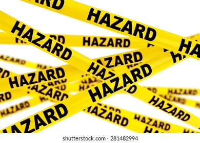 Hazard Yellow Tape Strips on a white background