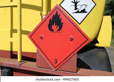 Hazardous and flammable goods plate on a truck