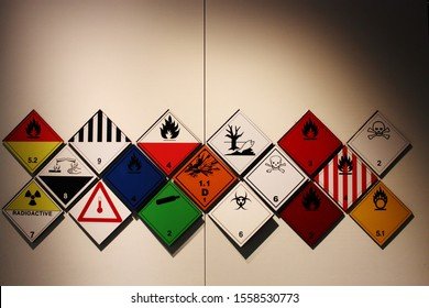 Hazardous symbols. Transportation of dangerous goods symbols and signs and logos. A collection of signs for transporting dangerous goods.