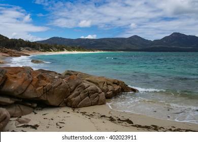 Hazards Beach of the Wineglass Bay circuit of Freycinet National Park in Tasmania