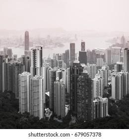 Haze Hong Kong downtown view from Victoria peak