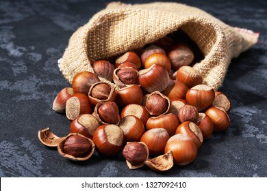 Hazelnut in burlap sack on wooden backdrop. Heap or stack of hazelnut. Hazelnut background, healthy food.
