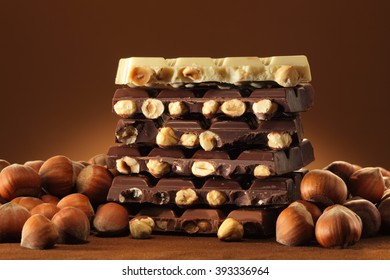 Hazelnut chocolate bar pieces pile