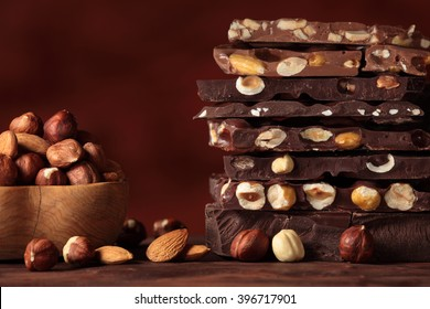 Hazelnut chocolate bar pieces tower