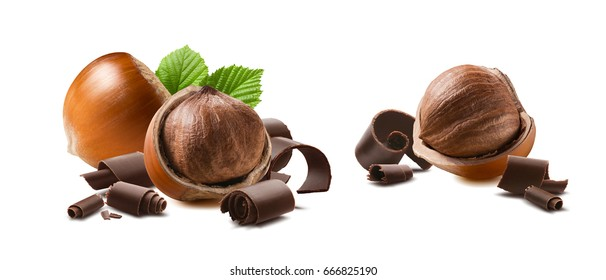 Hazelnut chocolate curls 2 isolated on white background as package design element