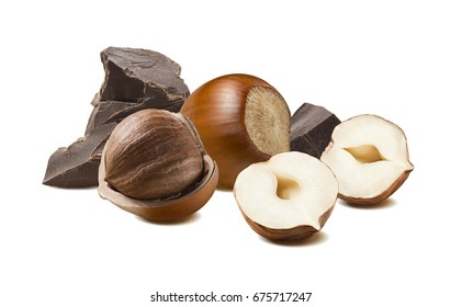 Hazelnut craft chocolate 2 isolated on white background