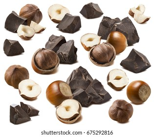 Hazelnut and craft chocolate pieces set isolated on white background as package design elements