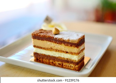 Hazelnut Dacquoise layer with Chocolate & Praline Cream