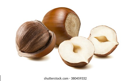 Hazelnut group whole half 2 isolated on white background as package design element