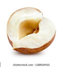 Hazelnut half isolated on white background Clipping Path
