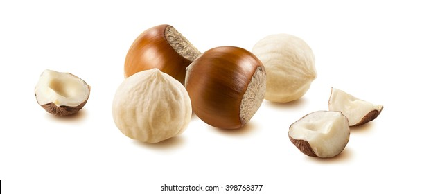 Hazelnut nut group many horizontal isolated on white background as package design element