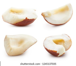 Hazelnut section. Hazelnut isolated on white background Clipping Path. Hazelnut Collection Set