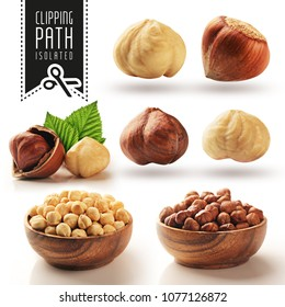 Hazelnut set with clipping path