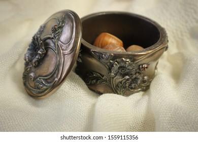 Hazelnuts in Bronze Lidded Trinket Bowl