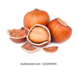 Hazelnuts isolated on white background as package design elements