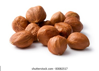 Hazelnuts isolated on the white background
