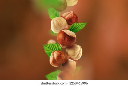 Hazelnuts and leaves falling from the air