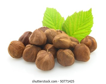 Hazelnuts on a white background