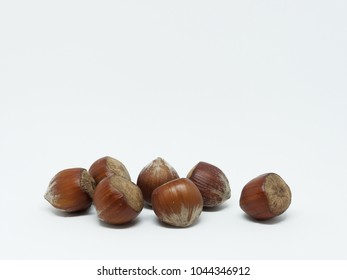 Hazelnuts on a white background - with copy space