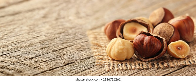 Hazelnuts on wooden table