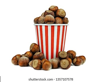 hazelnuts in a paper striped red and white cup isolated on white background. Full depth of field.