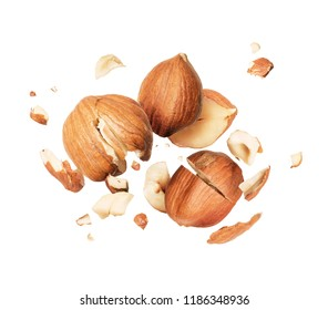 Hazelnuts is torn to pieces close-up, isolated on white background