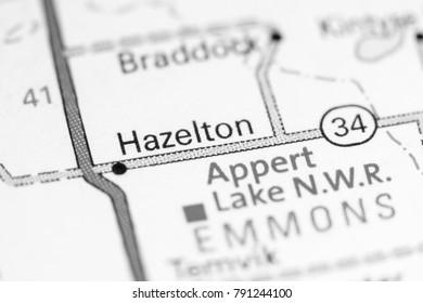 Hazelton. North Dakota. USA on a map.