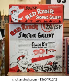 """HAZELWOOD, MO./USA-MARCH 16, 2019:  In addition to the coveted Red Ryder BB gun,Cabela's also sells the Shooting Gallery Accessory Kit to go with it. (From the movie: """"A Christmas Story"""".)"""