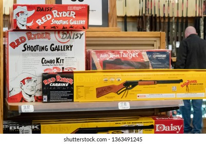 """HAZELWOOD, MO./USA-MARCH 16, 2019:  Cabela's Stores in Missouri sells the very item Ralphie Parker dreamed of receiving for Christmas: the Red Ryder BB Gun. (From the movie: """"A Christmas Story"""".)"""