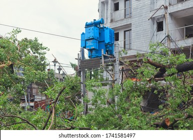 Hazra, Kolkata, 5/22/2020 : The day after cyclone Amphan hit the city. An electric transformer tower near an unfinished residential house is seen standing amidst ravaged and uprooted tree branches.