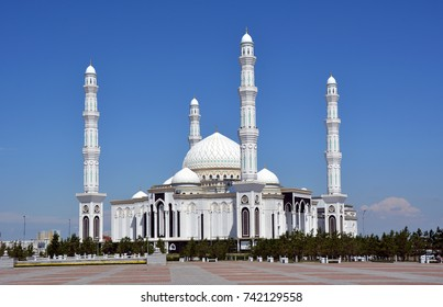 Hazrat Sultan Mosque in Astana on clean blue sky. Astana, Kazakhstan.