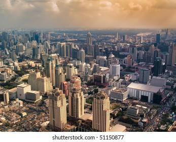 Hazy city in the sunset , Bangkok ,Thailand,  HDR image
