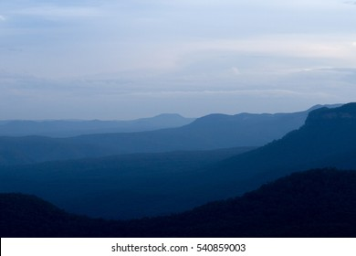 Hazy clouds over the Blue Mountains, Australia