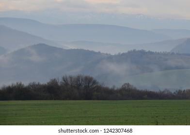 Hazy fuzzy view of the rural area in Bulgaria in the fall