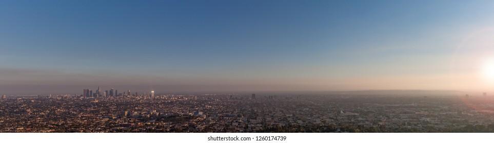 Hazy Los Angeles panorama sunset