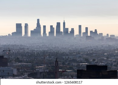 Hazy morning skyline view of downtown Los Angeles in Southern California.