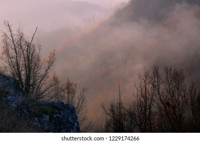 Hazy morning in Stara Planina in November