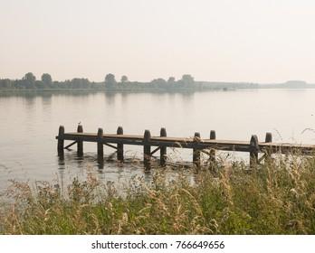 Hazy morning at 'Veluwe meer' (lake Veluwe) at Nijkerk, Gelderland, Holland, NLD