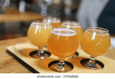 Hazy Northeast IPA craft beer tasting flight. IPA's are the most popular and largest selling style of craft beer in the United States.